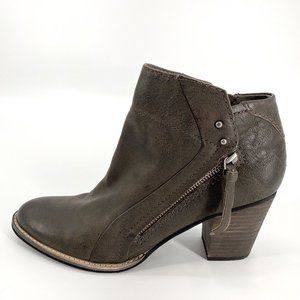Dolce Vita Charcoal Leather Jessie Side Zip Bootie